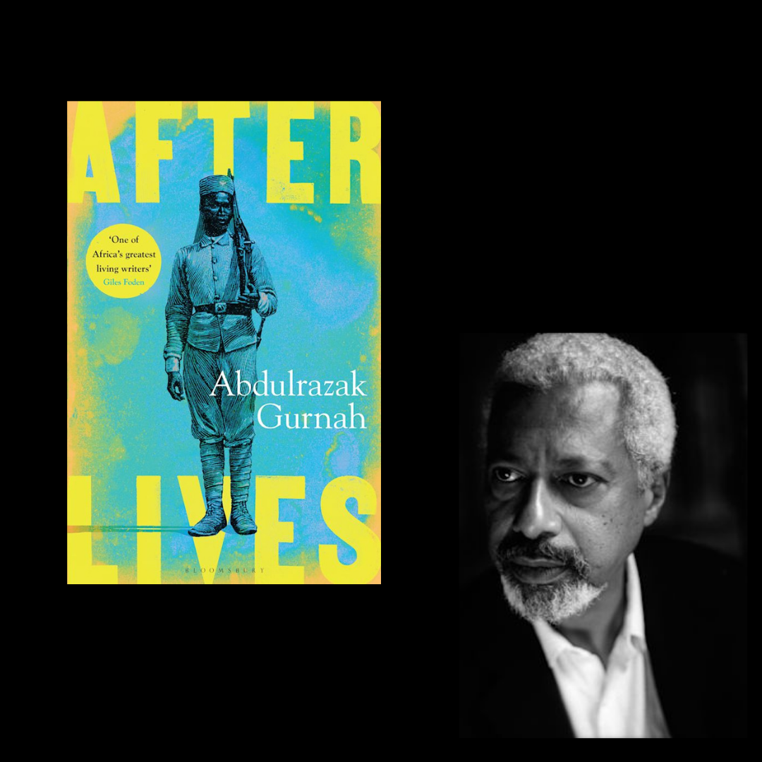 A black square with the cover of Abdulrazak Gurnah's novel on the left side and a black and white headshot of Gurnah himself on the right side